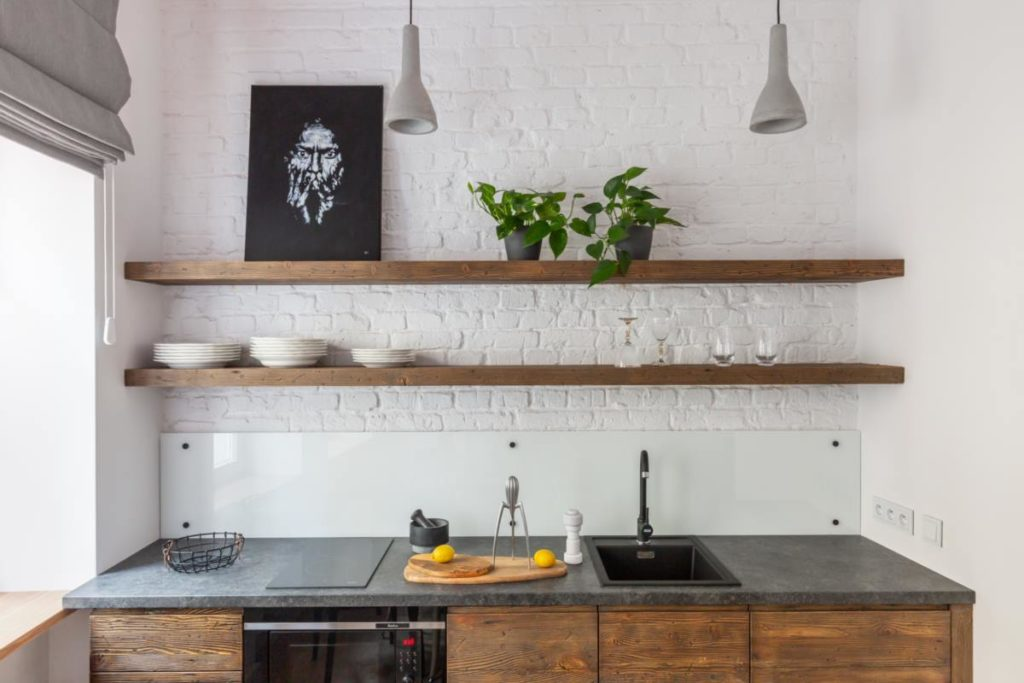 industrial kitchen white brick concrete lamp mini lacobel
